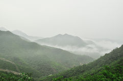 Great Wall fog over mountains in Beijing Stock Photography