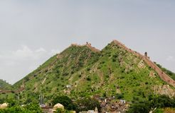 Great wall of Jaipur Royalty Free Stock Photos