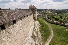 great wall of kamianets-podilskyi castle stock photography