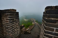 the great wall in the mist China royalty free stock photos