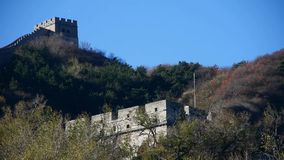 Great Wall on mountain peak,China ancient architecture,fortress in fall autumn. stock video