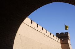 The Great Wall observatory. Jiayu Pass Ancient Chinese military facilities Royalty Free Stock Image