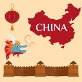 Great Wall Of China Beijing Asia Landmark Brick Architecture Culture History Vector Illustration. Stock Photo
