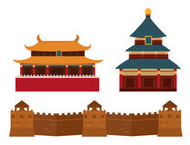 Great Wall Of China Beijing Asia Landmark Brick Architecture Culture History Vector Illustration. Stock Image