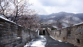 Great Wall panorama in spring after snow, with peach blossom. China - East Asia, Snow, Spring, peach blossom, Asia, Capital Cities stock photography