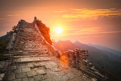 The great wall ruins in sunrise Royalty Free Stock Photo