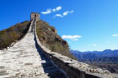 Great Wall running in the sky. A panorama of the Great Wall in Simatai, it seems the wall run into the sky Stock Image