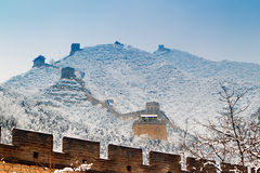 Great wall in snow. The great wall is juyongguan great wall ,and near by badaling great wall in beijing China Stock Images
