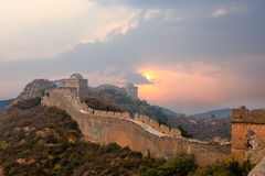 Great wall in sunset Royalty Free Stock Photography