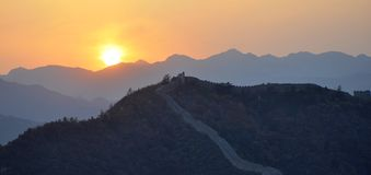 Great wall in sunset Royalty Free Stock Image