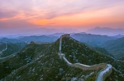The great wall sunset. The Great Wall of china in sunset in spring, BeiJing Royalty Free Stock Photo
