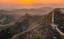 The great wall sunset Stock Images