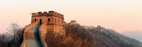 Great Wall sunset panorama Royalty Free Stock Photo