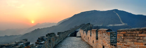 Great Wall sunset panorama Royalty Free Stock Photos