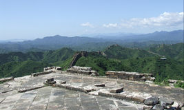 Great wall terrace panorama at Jinshanling Royalty Free Stock Image