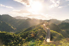 The Great Wall of the top of the mountain, China Stock Photo