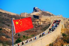 Cloudless the great wall mutianyu. The great wall tourist area is surrounded by mountains and beautiful scenery. spring, female shoots core, spring autumn royalty free stock photo