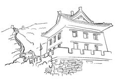 Great Wall with Tower Sketch Royalty Free Stock Photo