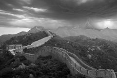 Great Wall apocalyptic typhoon, China. The Great Wall under heavy storm attack, with lightning flashing, thunderbolt Royalty Free Stock Photos