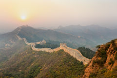 The great wall winding in ridge Stock Images