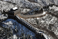 The Great Wall in winter white snow Royalty Free Stock Photo