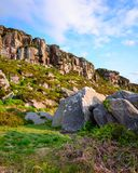 Great Wanney Crag and boulders in portrait royalty free stock photography