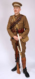 WW1 Great War mounted yeomanry soldier 1914. A Great War uniform as worn by British yeomanry cavalry soldier fighting in 1914. This reconstruction represents a Royalty Free Stock Photography