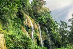 Waterfall in Cuba. Great Waterfall in Cuba, Trinidad Stock Photo