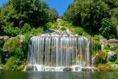 Great waterfall of the gardens of the Royal Palace of Caserta stock photos