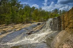 The Great Waterfall  in HDR. `The Great Waterfall in HDR` is a phototaken at Flat Rock Park, located in Columbus, Georgia royalty free stock photo