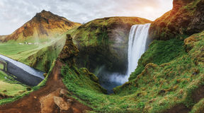 Great waterfall Skogafoss in south of Iceland near