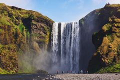 Great waterfall Skogafoss in south of Iceland near the town of Skogar. Dramatic and picturesque scene