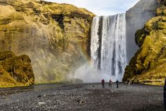 Great waterfall Skogafoss near the town of Skogar. Iceland stock photography