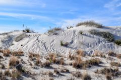 Amazing White Sands Desert in New Mexico, USA. Great wave-like dunes of gypsum sand have created the world's largest gypsum dunefield royalty free stock photos