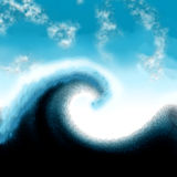 Great wave tsunami painted Royalty Free Stock Images