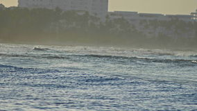 Great waves on caribbean sea in slow-motion telephoto, Dominican Republic stock video