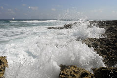 Great waves on Cozumel beach Stock Photography