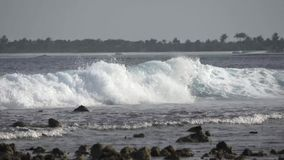 Great waves in the Indian Ocean. Maldives video. Horizontal stock video