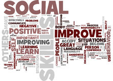 Great Ways To Improve Your Social Skills Text Background Word Cloud Concept stock illustration