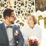 Great wedding couple just happy together. Royalty Free Stock Photography