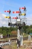 Great Western动臂信号机铁路跨线桥 免版税库存图片