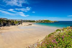 Great Western Beach Newquay Cornwall England. Stunning blue sky overlooking Great Western Beach Newquay Cornwall England UK Europe royalty free stock photo
