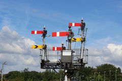 Great Western Semaphore railway signal gantry. Great Western Semaphore railway signal gantry at one end of Worcester Shrub Hill railway station Stock Image