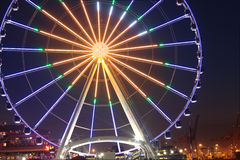 Great Wheel at night Seattle Washington Stock Photos