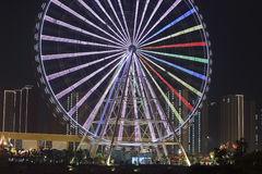 Great wheel beside the river in the night Royalty Free Stock Image