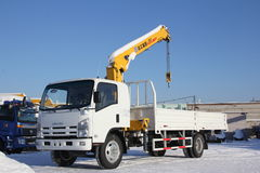 Great white auto truck crane standing on construction site in winter - Russia, Crimea -January, 21, 2016 Stock Photos