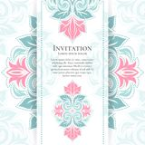 Pink and turquoise vintage greeting card. Great white card for invitation, flyer, menu, brochure, postcard, background, wallpaper, decoration, or any desired Stock Photography