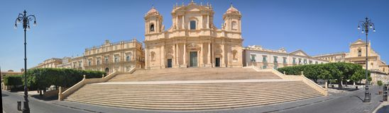 Great and White Cathedral of Noto in Sicily. Great and White Cathedral seen in Noto in Sicily Royalty Free Stock Image