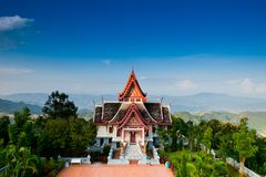 Great white pagoda on the top of hill Royalty Free Stock Photos