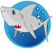 Great white shark. Friendly great white shark with water bubbles Stock Image